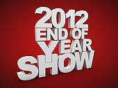 End of year show over red background