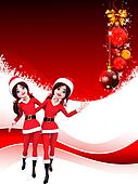 dancing santa girls on red backgrou