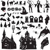 set of silhouettes symbolizing Hall