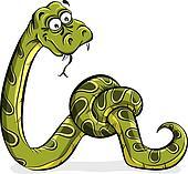 Green snake cartoon tied up.