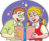 Children studying, illustration