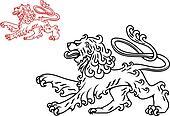 Vintage lion silhouette