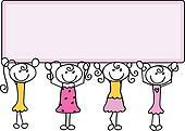 cartoon girls doodle banner