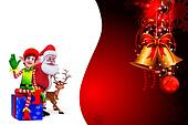 santa and elves on red background
