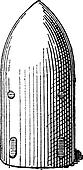 Shell, Projectile, vintage engraving