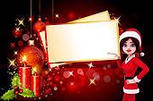 santa girl with big christmas cards