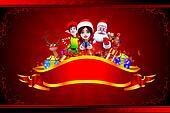 santa claus with all christmas team