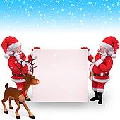 two santa claus with sign