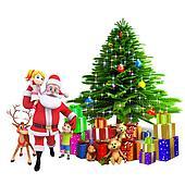 santa with kids and christmas tree
