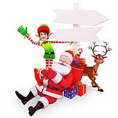 sleeping santa with elves and deer