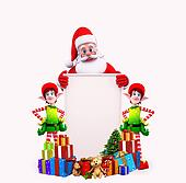 santa with elves and gifts