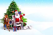 santa with christmas tree