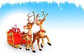 santa and sleigh on blue background