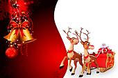 santa and sleigh on red background
