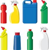 Set of plastic detergent bottles