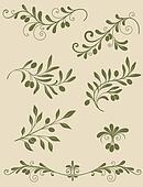 Decorative olive branch