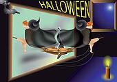 witch, pumpkin, bat and halloween