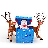 snow man coming out of gift box