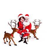 santa girl sitting with santa