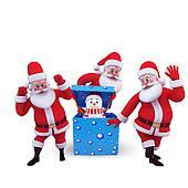 snow man with tree santa