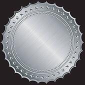 Silver blank label, vector