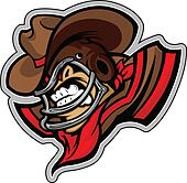 American Football Cowboy Mascot Wearing Helmet with Horns Vector