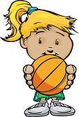 Smiling Volleyball Girl holding Basketball Ball  Vector Cartoon