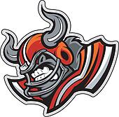 American Football Bull Mascot Wearing Helmet with Horns Vector I