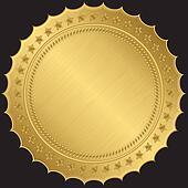 Golden blank label, vector