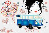 retro van woman - love and peace