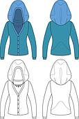 Blank hooded woman jacket