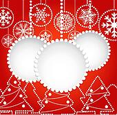 Abstract balls with ornament of snowflakes and forest of christm