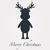 reindeer silhouette black merry christmas text