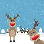 two rudolph reindeer red nose