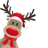 reindeer red nose hat and scarf