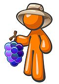 Orange Man with Grapes Vineyard Worker Hat
