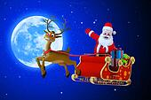 santa claus in his sleigh with moon