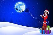 santa girl pointing towards moon