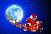 santa with his sleigh near moon