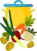 Pot and things for tasty soup - vector illustration.