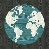 World map shape in wood