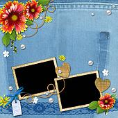 Denim background with frame for photo with flowers, lace and pearls. The template for the scrapbook design of vintage style photo book