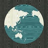 Wooden world shape concept