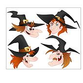 Cartoon Witch Faces Vectors