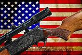 Vintage USA flag and rifle gun