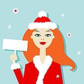 Santa girl, christmas postcard for your design