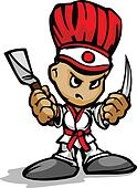 Tough Guy Cartoon Hibachi Chef with knife and Spatula Vector Gra