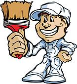 Happy Painter Contractor Standing with Paint Brush Cartoon Vecto