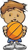 Smiling Boy holding Basketball Ball  Vector Cartoon Illustration