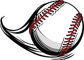 Moving Baseball or Softball with Laces and Movement Lines Vector